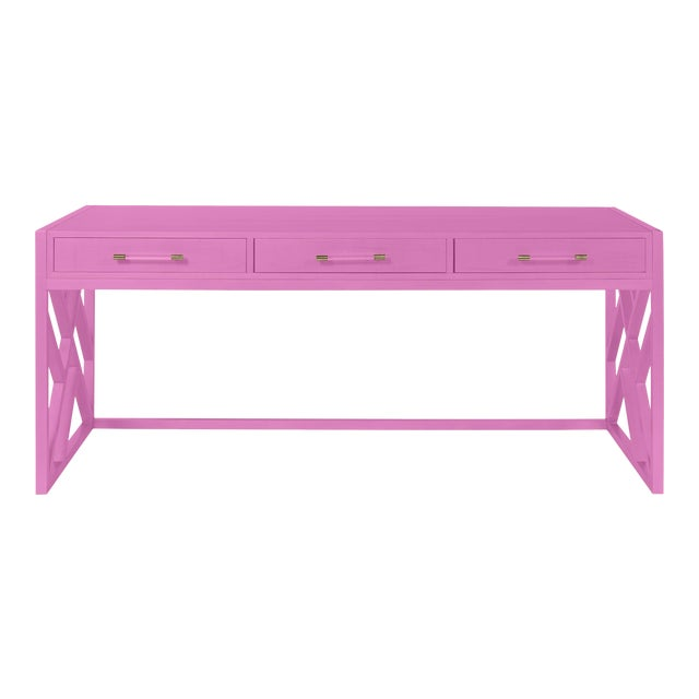Casa Cosima CeCe Desk with Wood Fretwork Base, Lilac Pink For Sale