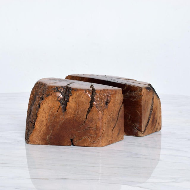 Brown Mid Century Modern Burl Wood Bookends Attr Don Shoemaker For Sale - Image 8 of 11
