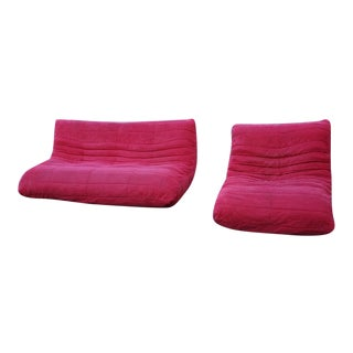 Ligne Roset Togo-Style Red Sofa and Chair - A Pair For Sale