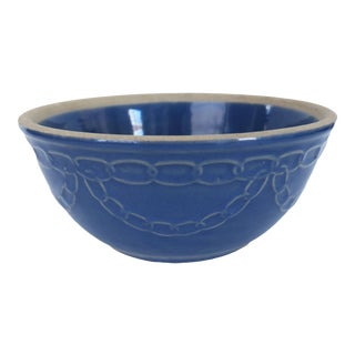 Antique Blue Chain Stoneware Earthenware Pottery Farmhouse Round Mixing Bowl For Sale