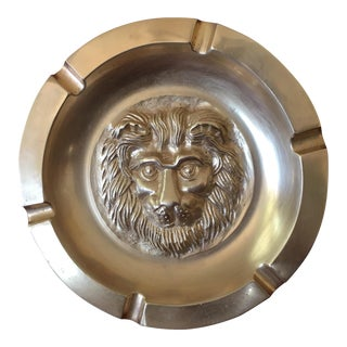 Hollywood Regency Brass Lions Head Ashtray