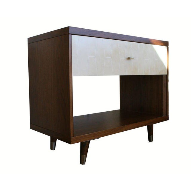 Customizable Francois Walnut and Parchment Nightstands For Sale - Image 9 of 9