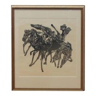 "Vintage Jacob Landau ""Horsers"" Woodblock For Sale"