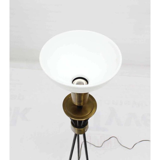 Round Brass Base Iron Spokes Mid-Century Floor Lamp For Sale In New York - Image 6 of 6
