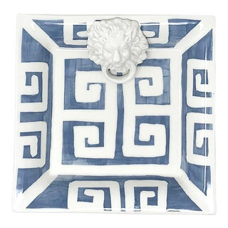Greek Key Small Square with Lion in Slate Blue For Sale