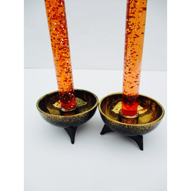 Atomic Orange Lucite Candles On Ceramic Base - A Pair - Image 5 of 6