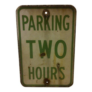 """Vintage Porcelain """"Parking Two Hours"""" Sign For Sale"""