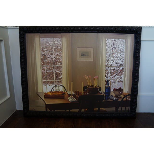 William B. Hoyt giclee print on canvas, picturing a dining room scene looking out on a snowy backdrop. Beautiful black...