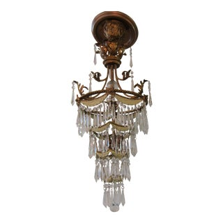 Vintage Tiered Crystal Chandelier With Tole Drape and Gilt Accents For Sale