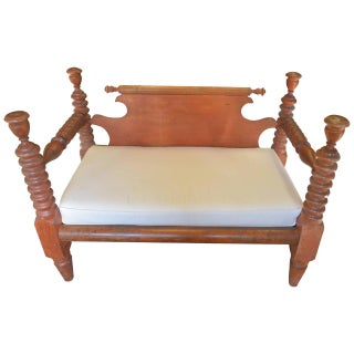 19th Century English Wood Bobbins Carved Settee For Sale