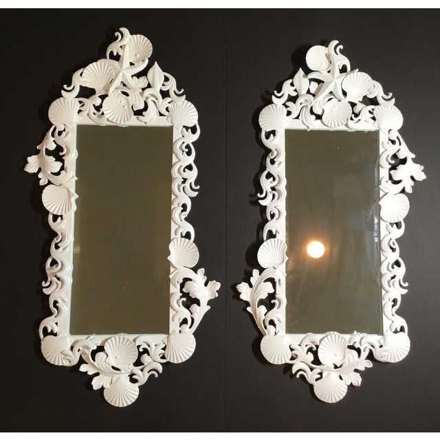 White Sea Shell Mirrors - a Pair For Sale - Image 13 of 13