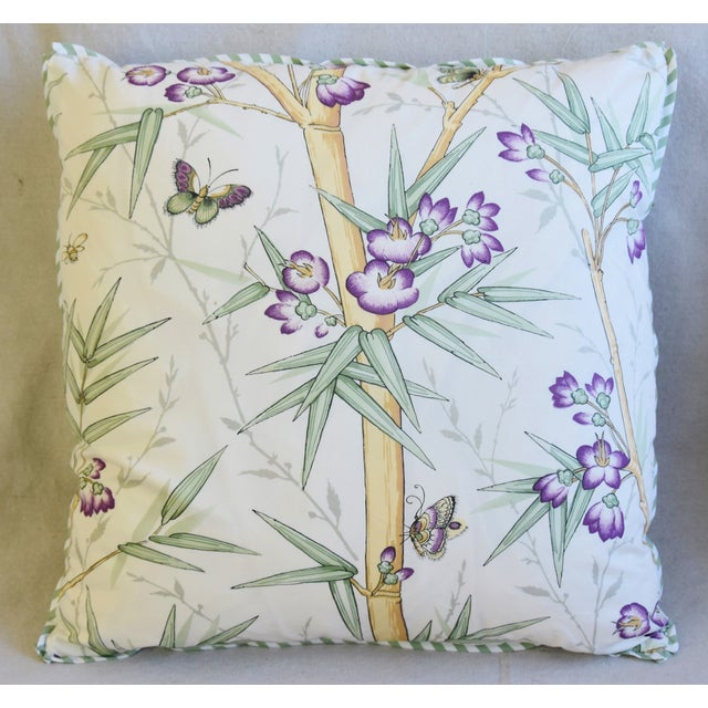 "American Clarence House Bamboo Fabric Feather/Down Pillows 21"" Square - Pair For Sale - Image 3 of 13"