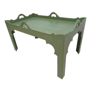 1990s Rustic Niermann Weeks Paint Decorated Parson Tray Top Serving Coffee Table For Sale