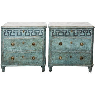 Pair of Blue Painted Commodes For Sale