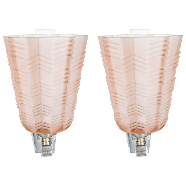 Pair of Art Deco/Skyscraper Style Nickel and Frosted Rose Glass Sconces - Image 8 of 8
