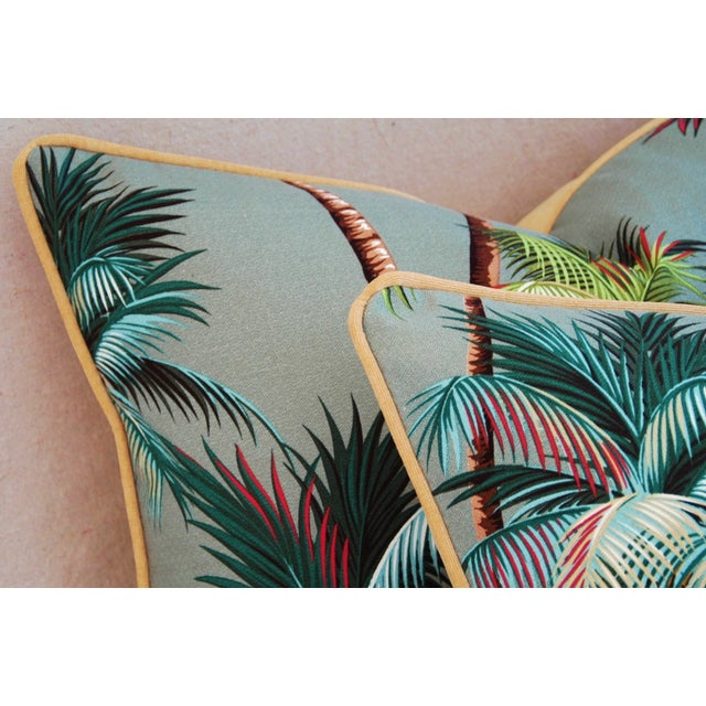 "Oasis Palm Tree Barkcloth Feather/Down Pillows 24"" X 18"" - Pair For Sale - Image 9 of 11"