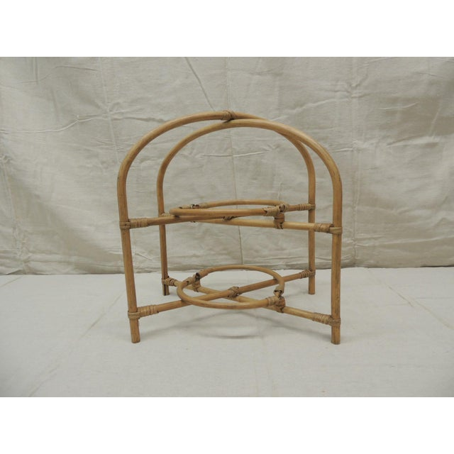 Tan Vintage Bamboo With Rattan Details Two Tier Serving Stand For Sale - Image 8 of 8