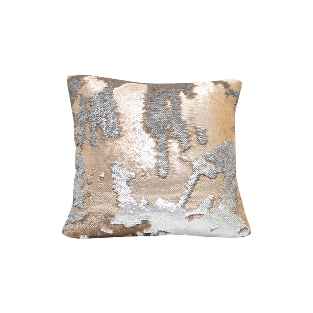 Gold & Silver Sequin Decorative Pillow For Sale