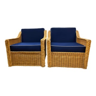 Pair of Vintage Rattan Lounge Chairs For Sale