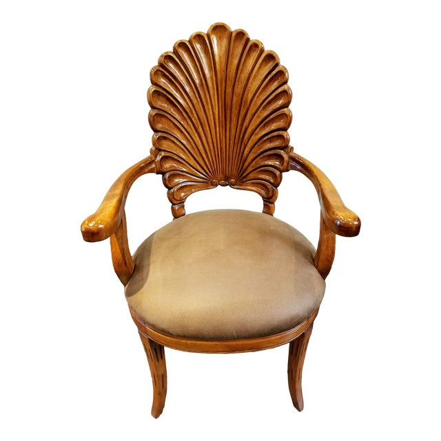 1960s Vintage Italian Venetian Carved Wood Shell Back Grotto Armchair For Sale