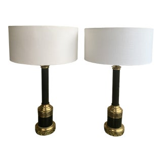 Pair of Black and Brass Greek Key Lamps For Sale