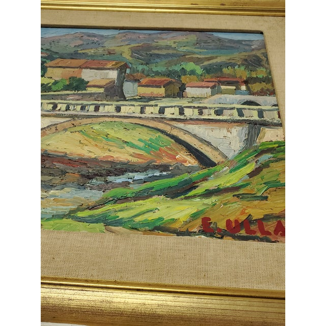 """Green Mid 20th Century """"The Bridge Before the Mountain"""" Painting For Sale - Image 8 of 13"""