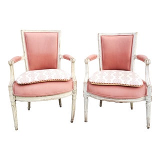 Antique Louis XVI Style Painted Bergeres Chairs-A Pair For Sale