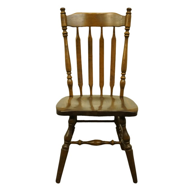 Late 20th Century Ethan Allen Antiqued Pine Old Tavern Cattail Back Dining Side Chair For Sale