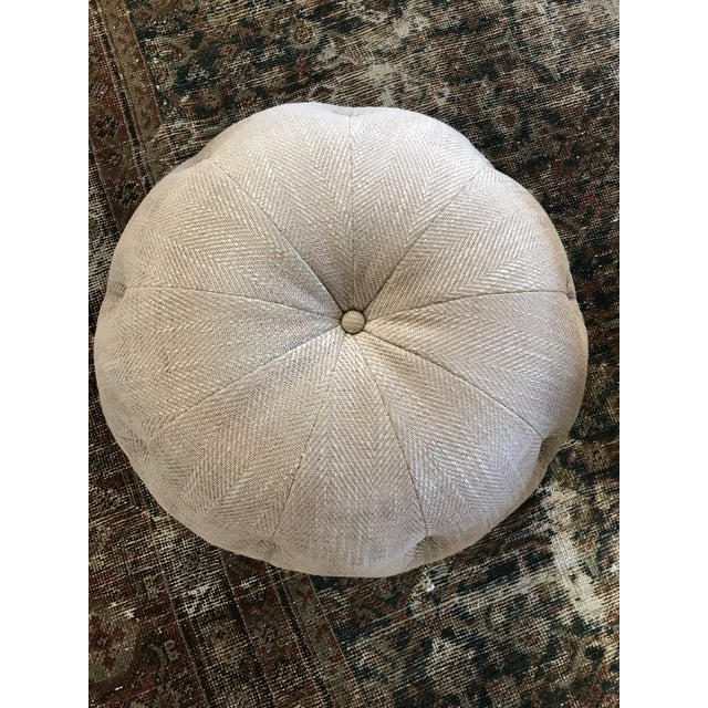 Cisco Home Custom Cashmere Gray Wool Pouf Ottoman - Image 3 of 4