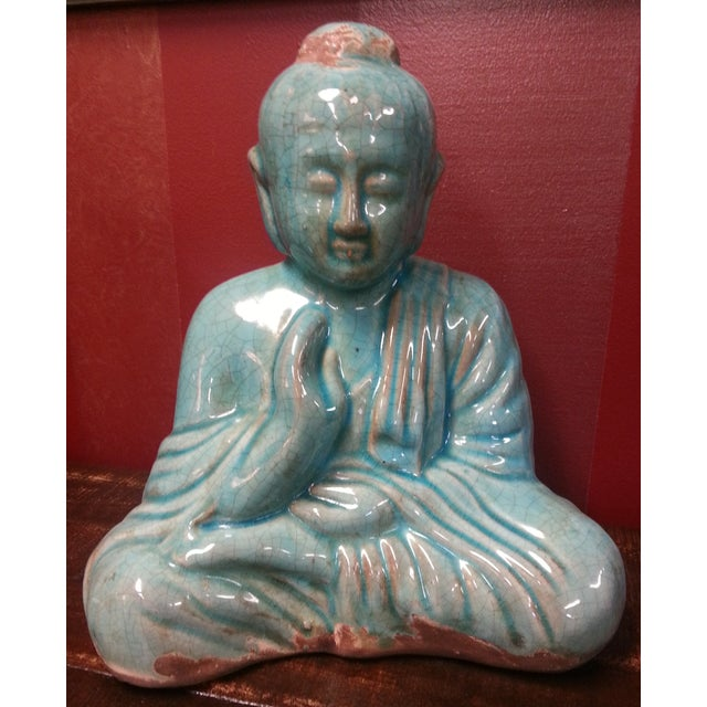 Turquoise Sitting Buddha Statue For Sale In Chicago - Image 6 of 8
