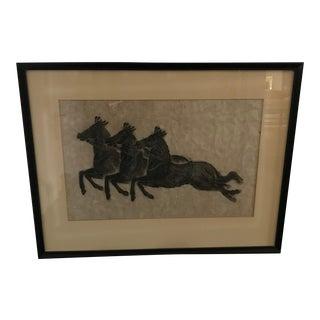 """Vintage Japanese Rice Paper """"Warrior Horses"""" Woodblock Art Framed For Sale"""