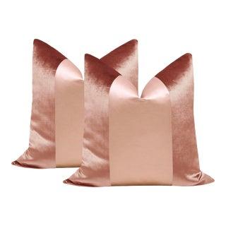 """22"""" Rose Gold Velvet & Silk Panel Pillows - a Pair For Sale"""