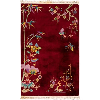 Early 20th Century Antique Chinese Art Deco Wool Rug For Sale