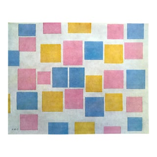 "Piet Mondrian Vintage 1970 Authentic Abstract Lithograph Print "" Composition III Color Planes "" 1917 For Sale"