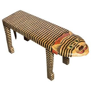 1950s Vintage Tiger Hand-Painted Carved Motif Wood Bench For Sale