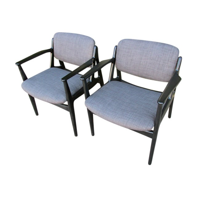 Mid-Century Black Lacquered Arm Chairs - A Pair - Image 1 of 4