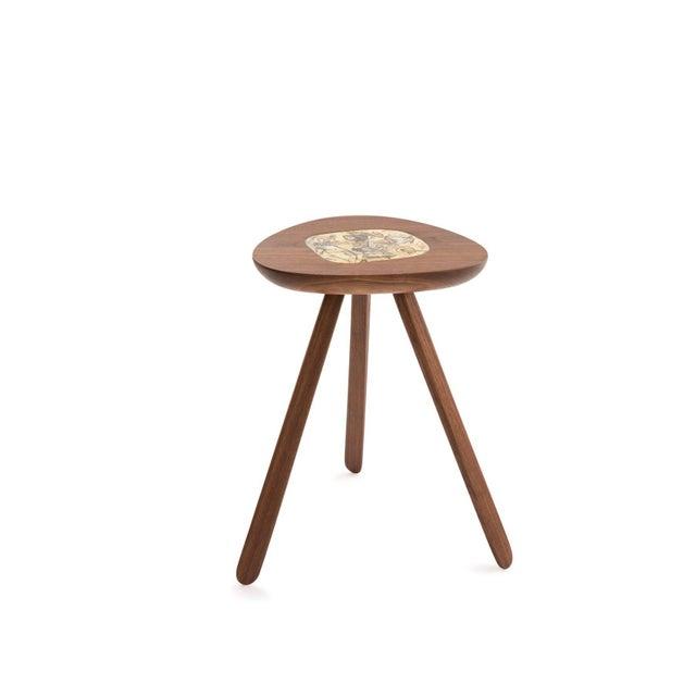 Four Lee Porzio & Allen Ditson Walnut Ceramic Side Tables For Sale - Image 10 of 11