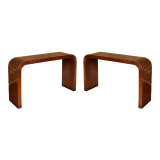 Pair of Faux Tortoise Waterfall Karl Springer Style Consoles For Sale