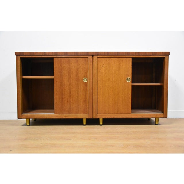 Walnut and Brass Tv Console Credenza - Image 3 of 11