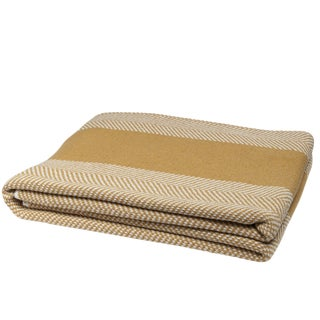Eco Herringbone Stripe Straw & Milk Throw