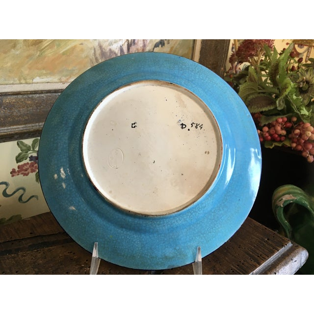 Antique French Faience Colorful Longwy Plate For Sale - Image 10 of 13