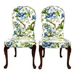 Mid-Century Blue & White Floral John Widdicomb Queen Anne Style Side Chairs-Pair For Sale
