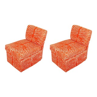 Orange Zebra Slipper Chairs- a Pair For Sale