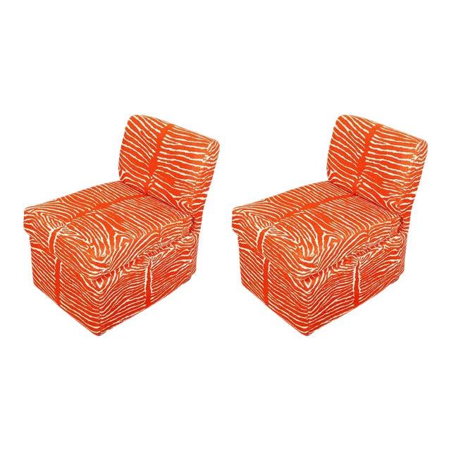 Orange Zebra Slipper Chairs - a Pair For Sale