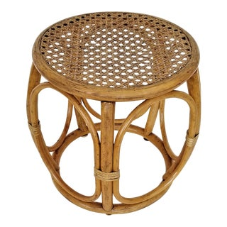 1960s Thonet Inspired Caning and Rattan Stool-Mid Century Organic Modern Boho Chic Tropical Coastal Palm Beach Bamboo Tree For Sale