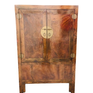 19th Century Antique Burl Wood Chinese Cabinet For Sale