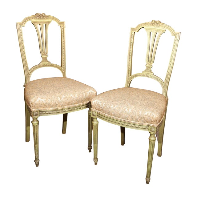 French Green Painted Side Chairs - Pair - Image 1 of 7