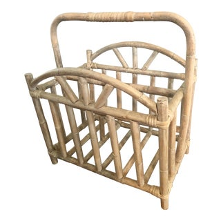 Glazed and Whitewashed Bamboo Rattan Magazine Rack For Sale