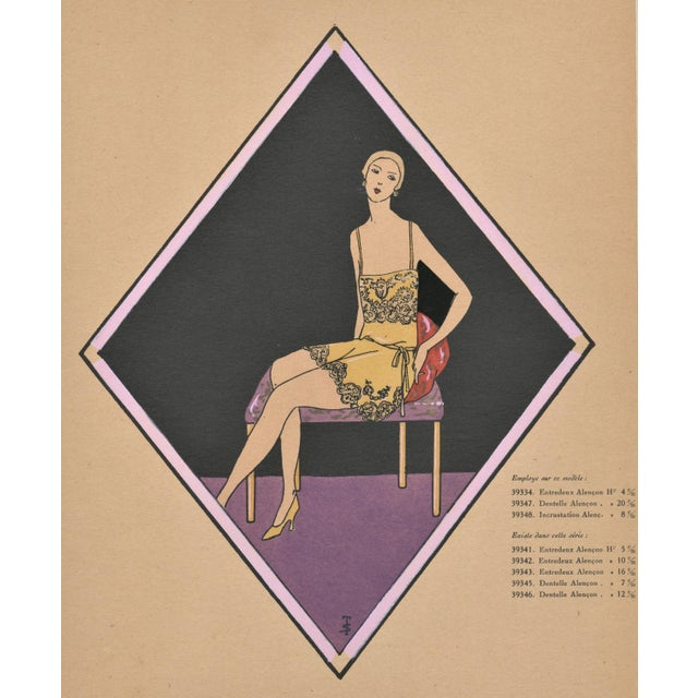 This is a rare Art Deco French pochoir of vintage lingerie that dates to 1928. Purchased by us in Paris. Wonderful graphic...