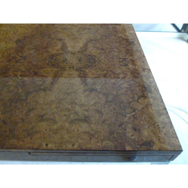 Burlwood 1970's Vintage Milo Baughman Style Burl-wood & Chrome Dining Table For Sale - Image 7 of 13